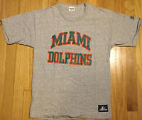 Vintage Starter MIAMI DOLPHINS t shirt M football 90s 80s gray NFL rayon blend