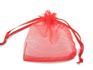 50 sacchetti in organza misure 9 x 7 mm colore rosso