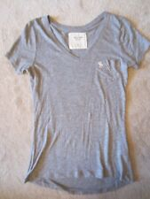WOMEN ABERCROMBIE & FITCH A&F GRAY V NECK BASIC STRETCH FITTED TEE KNIT TOP XS