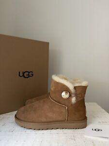 UGG NWB Women's Boots Mini Bailey Botton Bling Shoes Sheepskin Chestnut Size 9
