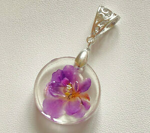 African Violet Real Preserved Flower Resin Pendant Jewelry Munchkin Kisses