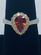 Vintage (1930s) 14K White Gold Orange Sapphire (1.38 ct) Diamond (.44 ctw) Ring