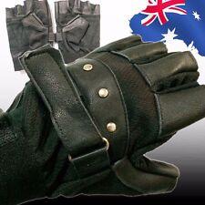 Men's Soft Sheep Leather Driving Cycling Half Finger Fingerless Gloves CGLOV8970