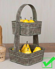Rustic decorative two tier tote galvanized METAL STORAGE BASKET fruit bin stand