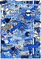 XXL 100x70cm stile europeo tonalità blu Vinile Sticker Bomb Telo JDM Drift