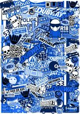 A5 Micro Size EURO Style BLUE Vinyl Sticker Bomb Sheet JDM Ratlook R/C Drift Car