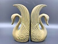 Vintage Art Deco Brass Swan Bookends Table Decoration Made In Korea Pair of 2