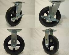 "8"" x 2"" Swivel Casters Rubber Wheel w/ Brake (2) Rigid (2) 600lb each Tool Box"