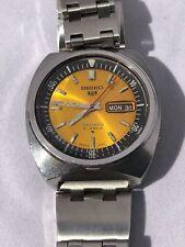 """Vintage Seiko 5 Sports 6119-7023 """"Baby pogue"""" ,golden Yellow Dial, Rare Seiko ."""
