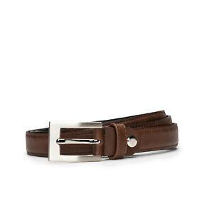 Dress full grain belt on brown vegan leather with a square frame buckle sleek