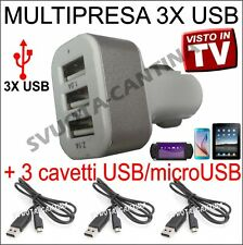 SPINA ACCENDISIGARI AUTO 3 PRESE USB + 3 CAVI PER ALCATEL ONE TOUCH POP C3