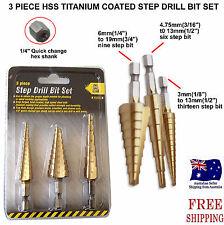 3Pcs Large HSS Speed Steel Step Cone Drill Titanium Bit Set Hole Cutter BIT NEW