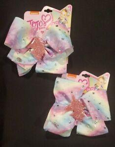 2 NEW JoJo Siwa Multicolored Pastel Hair Bow Clip Stars/Rhineston/UNICORN CHARM!