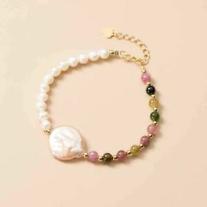 Sterling Silver 18K Gold Freshwater Natural Pearl Tourmaline Adjustable Bracelet