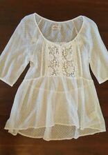 HOLLISTER White Mesh Baby Doll Shirt - XS