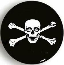 "SPARE TIRE COVER 29.75""-31.75"" with Happy-Fire-Eyes Pirate Skull shiny black"