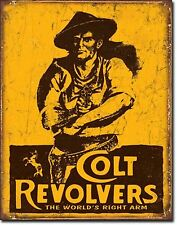 NEW Colt Revolvers Antique Vintage Look Western Cowboy Firearms Gun Metal Sign
