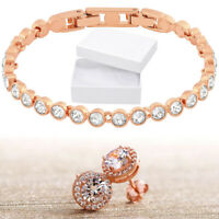 14K Rose Gold Plated Open Circle White Pave Crystal Filled Bangle Bracelet