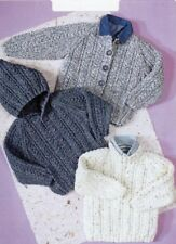 Knitting Pattern Baby Toddler ARAN Hooded jacket Cardigan Copy 10 ply