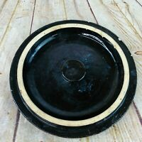 "Stoneware crock Lid brown glaze pottery Vintage crock lid 9.25"" wide"