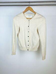 John Lewis Cream 100% Cashmere Knit Classic Button Up Long Sleeve Cardigan UK 10