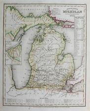 1853 USA Michigan Stahlstich-Landkarte
