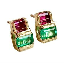 18K Yellow Gold Earrings Natural Fine Emerald Ruby