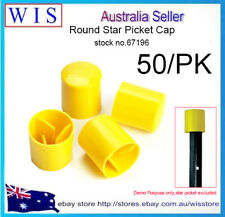 50/PK Yellow Round Star Picket Cap,Construction Safety Caps for Steel Post-67196