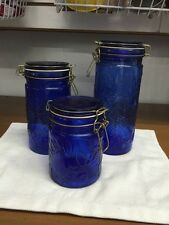 Cobalt Blue Set Of Three Glass Jar Canisters With Metal Lid Closures