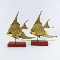 Angelfish Figurines Statues Brass on Wood Stand Felt Bottom Graceful Pair