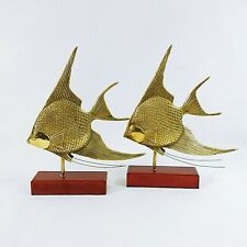 Angelfish Figurines Statues Brass on Wood Stand Felt Bottom Graceful Pair