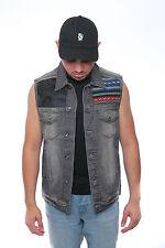 Men's NEW  Denim biker vest  Color Vest casual Jacket JEAN VEST BLACK AZTEC CAMO