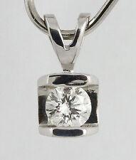 14k White Gold Round Brilliant Cut Diamond Pendant, 0.25ct. (estate, 0.79g) 1328