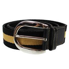 GUCCI Logos Vintage Web Stripe Belt Black Beige Canvas Silver Italy Auth #P389 M