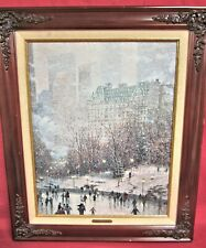 Thomas Kinkade - Skating in the Park with Classic Mohagany Frame