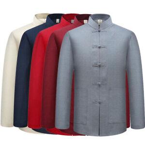 Mens Traditional Chinese Tang Suit Coat Jacket Wing Chun Kung Fu Tai Chi Uniform