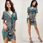 BOHO Women's Floral V Neck Batwing Tunic Kaftan Loose Tops Blouse Mini Dress