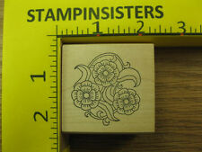 Rubber Stamp Flower and Leaf Circle by Paper Parachute Stampinsisters #1632