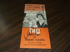 1960's MILWAUKEE ROAD BIG SAVINGS IN TRAVEL COSTS BROCHURE