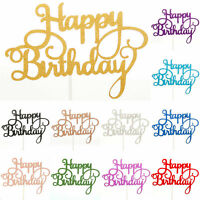 Happy Birthday Cake Toppers Glitter Calligraphy Bling Sparkle Decoration Party