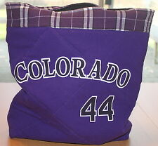 Colorado Rockies Baseball T-Shirt Tote Bag, Handmade Purple Quilted Upcycled New