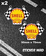 SHELL OIL FLAGS STICKERS VINTAGE STYLE 9cm FUEL FERRARI F1 LEMANS TARGA FLORIO