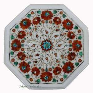 Sale Online Marble Coffee Side Table Top Carnelian Marquetry Floral Inlaid Arts