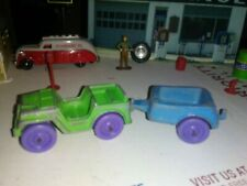 "Vintage Green Tootsietoy 1968 Jeep w/ Blue Trailer 1967 - Purple Wheels - 6"" Log"