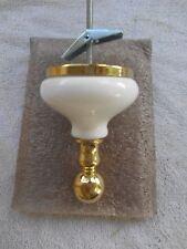 NOS HARDEN Luxury Polished Brass & Porcelain Robe Holder Wall Mount