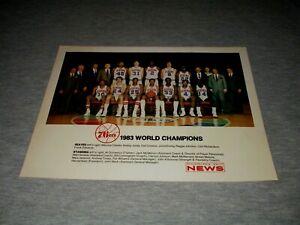 "1983 PHILADELPHIA 76ERS WORLD CHAMPIONS-NBA BASKETBALL 8"" X 10"" TEAM PHOTO"