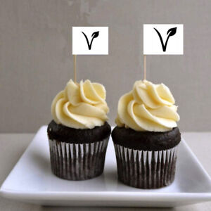 10 x VEGETARIAN Cup Cake Flag Toothpick Topper Food Allergy Intolerance