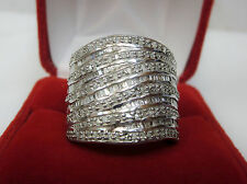 HUGE 1 CT Round Baguette Diamond Statement Wide Cigar Band Ring Silver Sz 8