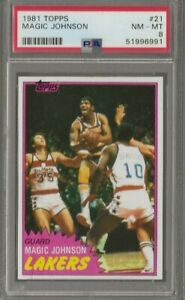 1981-82 Topps Magic Johnson #21 Los Angels Lakers PSA 8 NM-MT