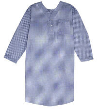 Men's Comfortable Back Snap Nightshirt Gown Long Sleeve Size M